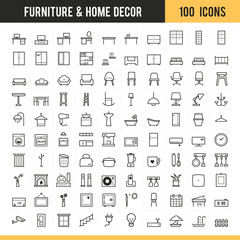 Furniture icons. Vector illustration.