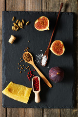 Spices, cheese and figs