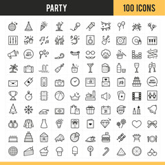 Party icons. Vector illustration.