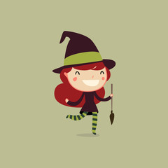 halloween kids. witch girl. vector character