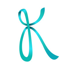 Initial K Teal Ribbon