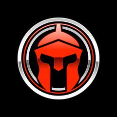 Silver Spartan Helmet Circle Emblem