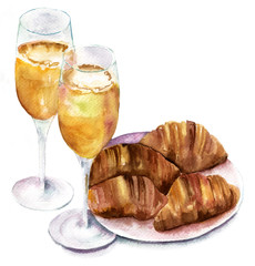 'Breakfast in bed': watercolor champagne glasses and croissants