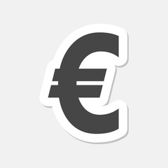 Euro sign stickers, EUR currency symbol, Money label