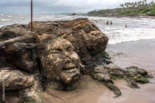 Quot shiva rock carving at little vagator beach goa india