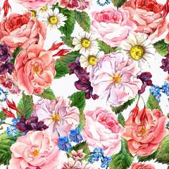 Floral Vintage Seamless Pattern, watercolor illustration.