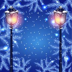 Christmas fur tree and vintage streetlamp