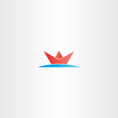 red paper boat in sea water logo