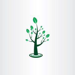 tree with green leaves vector icon sign design element