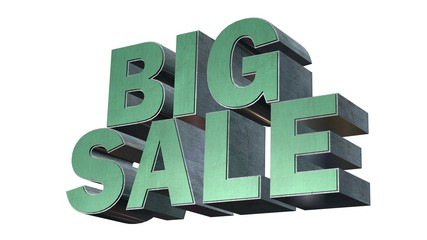 Big Sale - 3D metal render text on white background