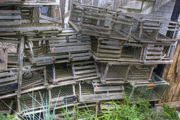 Stack of wooden lobster traps in Maine
