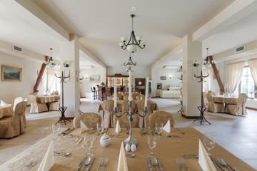 Spacious hotel restaurant interior