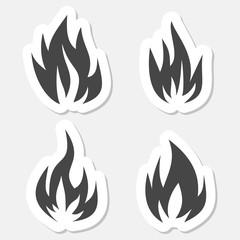Fire symbols stickers set