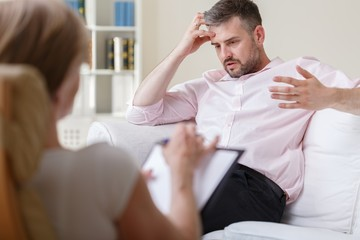 Businessman on psychotherapy session