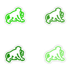 Set paper stickers on white background monkey with bananas