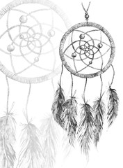 Watercolor monochrome ethnic tribal hand made feather dreamcatcher