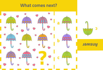 Activity game for preschool kids: What comes next (umbrellas)