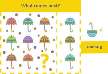 Activity game for preschool kids: What comes next (umbrellas)