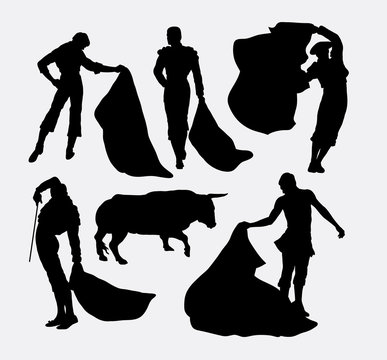 Matador sport silhouettes. Good use for symbol, logo, web icon, mascot, or any design you want. Easy to use.