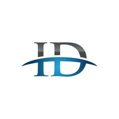 ID initial company swoosh logo blue