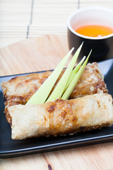 Chinese spring rolls stuffed with meat.