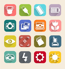 Photography icons with long shadow, camera flat icons vector