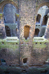 ROCHESTER, UK - MAY 16, 2015: Rochester Castle 12th-century. Inside view of  castle's ruined palace walls and fortifications