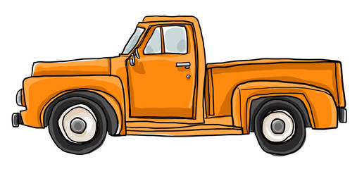 Old orange pickup truck cute art illustration