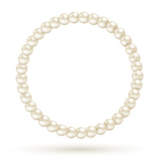Pearl circle like frame isolated on white background