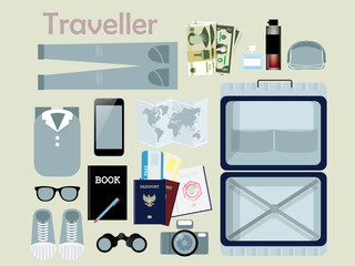 flat design of outfit of traveler, necessary thing of traveler,traveler concept