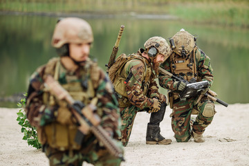 Army soldiers during the military operation