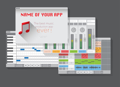 DAW, music production software (digital audio workstation). Vector template