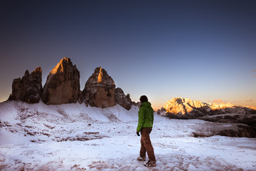 Drei Zinnen and Female hiker