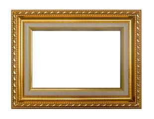 Shining gold photo frame isolated on white background