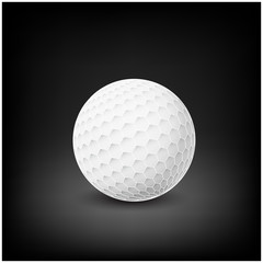 Golfball realistic vector. Image of single golf equipment, ball.  illustration isolated on dark mesh  background.