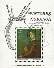"CUBA - CIRCA 1978: A stamp printed in Cuba to 10 years since the death of Cuban artist Amelia Pelaes del Casal, work L.Romanach ""Portrait of Amelia"", circa 1978"