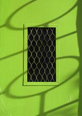 Green metal entrance door.