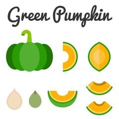 Vector green pumpkin set 2
