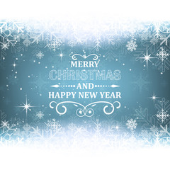Christmas and New Year vector background with snow theme. Design for your greeting card.