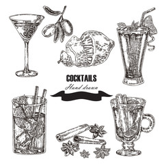Hand drawn sketch cocktail set. Vector illustration
