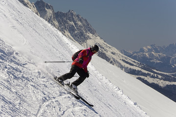 Young downhill skier
