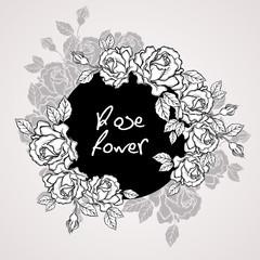 Hand drawn rose flower wreath vintage style. Vector illustration