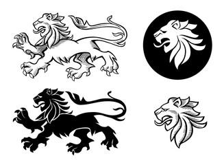 Heraldic lion silhouettes