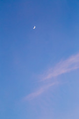 Crescent moon in sky