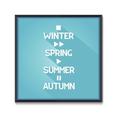 Seasons poster with symbols all times of the year. Vector illustration