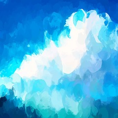 White clouds brush strokes background.