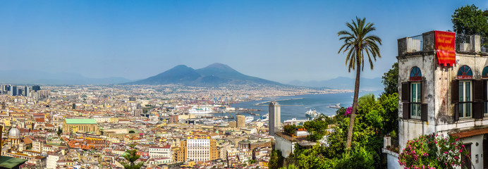 Garden Poster Napels City of Naples with Mt Vesuvius and palm tree at sunset, Campania, Italy