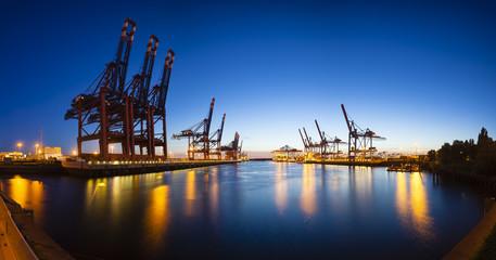 Container Terminals at Night Panorama