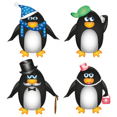 Collection of penguins on white background
