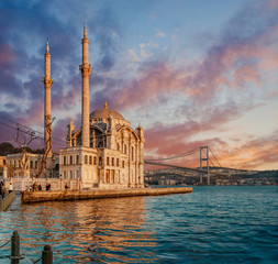 Iconic view of Istanbul from Ortakoy with The Bridge, The Mosque and The Bosphorus